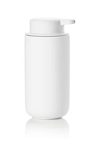 Zone Denmark Ume Seifenspender/Seifenpumpe aus Steingut mit Soft Touch-Beschichtung, extra großes Fassungsvermögen (450 ml), weiß