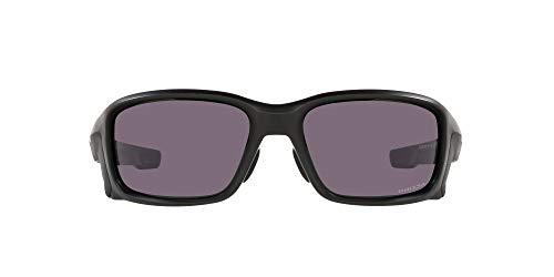 Oakley Men's OO9336 Straightlink Asian Fit Rectangular Sunglasses, Matte Black/Prizm Grey, 61mm