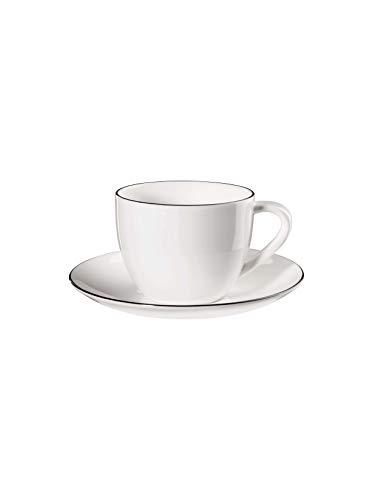 ASA Tasse à cappuccino avec sous-ligne noire ATABLE 0,25 L 1929113 Neuheit 2020 ! Kit de 2 pièces comprenant 2 pailles en acier inoxydable EKM Living