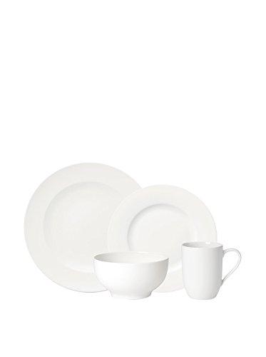 Villeroy & Boch - For Me ménagère 16 pièces, ensemble de vaisselle de base en porcelaine premium pour 4, french bol, assiette, mug, blanc, adapté au lave-vaisselle