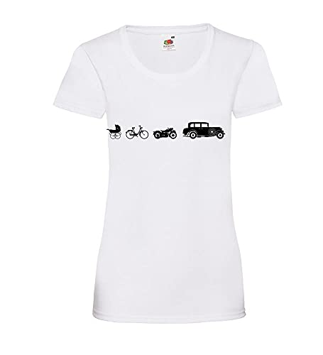Oldtimer Evolution Frauen Lady-Fit T-Shirt Weiß XXL - shirt84.de