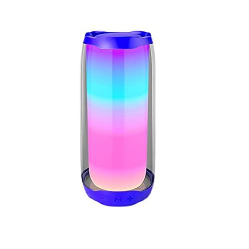 GJX-LB Bluetooth Lautsprecher, Vollbild-Farblicht-drahtloser Bluetooth-Lautsprecher Tragbare TWS Mit Lichtlautsprecher Mini-wasserdichte-Bluetooth-Lautsprecher für drinnen/draußen (Color : Blue)
