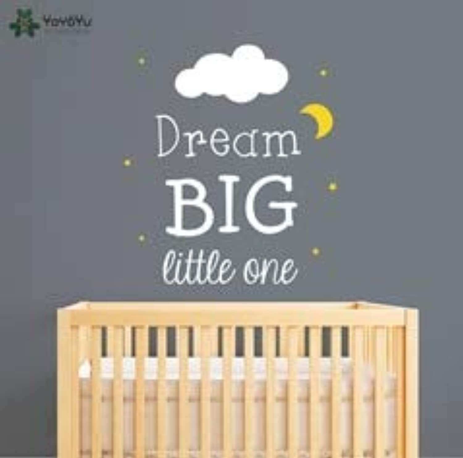 DalaB YOYOYU Kids Nursery Rooms Wall Sticekrs Quote Dream Big Little One Wall Decal Cloud Moon Stars Pattern Vinyl Baby Decor DIYSY492 - (color  1, Size  75x84cm)