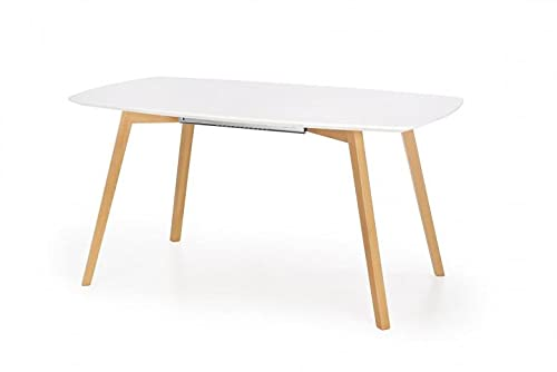 Mesa extensible de MDF y madera de haya Kajetan, color blanco y roble miel, 150 x 200 x 85 x 76 cm