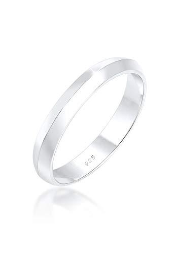 Elli anillos sencillo de apilamiento para mujer, en diseño clásico, de plata de ley 925