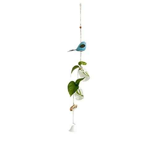 Garneck Raumwindspiel Glockenspiel im Japanischen Stil Hängende Windanhänger Wohnaccessoires für Bürohaus Raumdekoration Blau (Vogel Doppelflasche Windspiele)