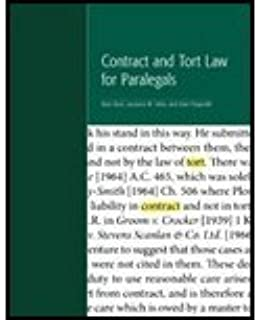 Contract and Tort Law for Paralegals