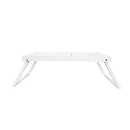 DRULINE Betttablett | Tablett | Klappbar | Frühstückstablett | Holztablett | Holztisch |Tabletttisch mit klappbaren Beinen | erhöhter Rand | Shabby Chic | Weiß | 49 x 20 x 32 cm