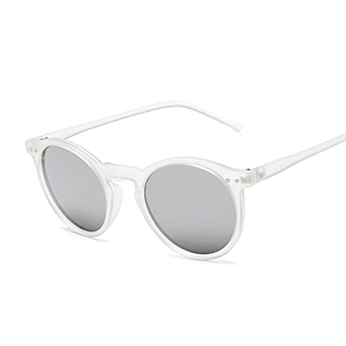 Tanxianlu Gafas De Sol Redondas Vintage para Mujer, Gafas De Sol De diseñador de Marca Retro, Espejo Degradado marrón para Hombre, Gafas De Sol clásicas con Remache De Ojo de Gato,S