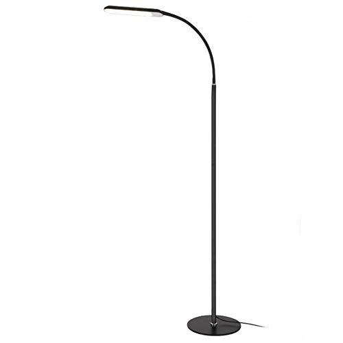 Allamp Lámpara de pie moderna remoto Eye Care regulable Negro LED ajustable de cuello de cisne flexible lámpara de pie de 1,45 M Cafe Restaurante Sala de lectura Dormitorio Oficina Para aprender de co