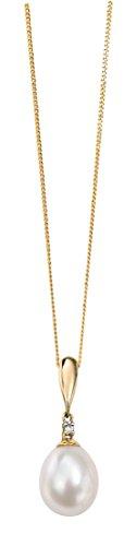 Elements Gold Damen-Anhänger375 Perle 0.01 ct Weiß Rundschliff Süßwasserperlen Weiß 46 cm