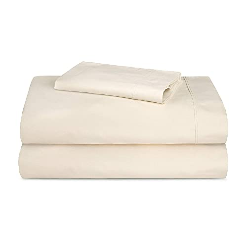TRIDENT 300 Thread Count Cotton Deep Pockets Bed Sheet Set, Flat Sheet, Fitted Sheet, 1 Pillow Case, Solid, Twin, Ivory/Vanilla Ice