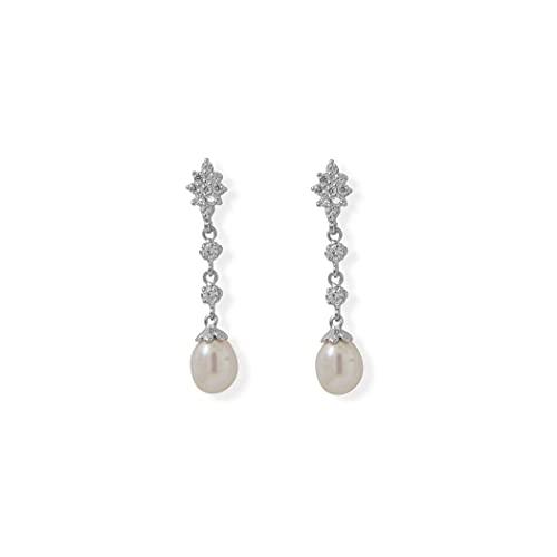 Pendientes largos de plata de ley 925 con circonita cúbica y perlas cultivadas de agua dulce, chapados en rodio, poste de 7 mm x 9 mm, gotas H, regalos para mujeres