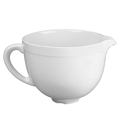 Ceramic Bowl for KitchenAid Mixer, Rugby Shape,5 QT ,Oval Mouth,White,stand mixer bowl-Kitchenaid Attachments for Mixer-Dishwasher & Microwave Safe-Kitchen Aid mixer bowl
