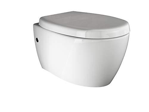 Aqua Bagno Spülrandloses Design Hänge-WC Set aus hochwertiger Keramik inkl. Softclose WC-Sitz aus Duroplast Toilette Tiefspül-WC