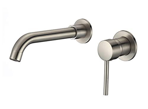 VALAZ Grifo de lavabo empotrado acero cepillado redondo monomando caño de 21 cm