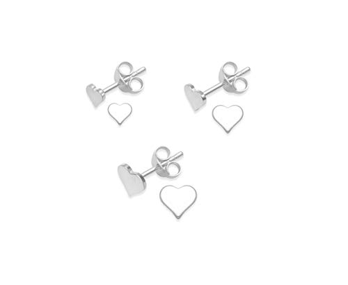 Heather Needham Sterling Silver Heart Earrings - SET of 3 PAIRS stud earrings 4mm, 5mm & 6mm. MUCH SMALLER THAN SHOWN! Gift Boxed. 5170SET