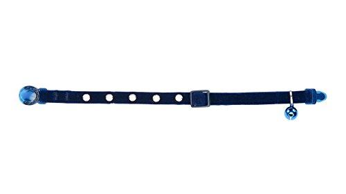 Anifa Collar para Gato, de Terciopelo y Adornado con Diamantes, Ajustable, Cuello de 20 a 30 cm, Lavable a máquina