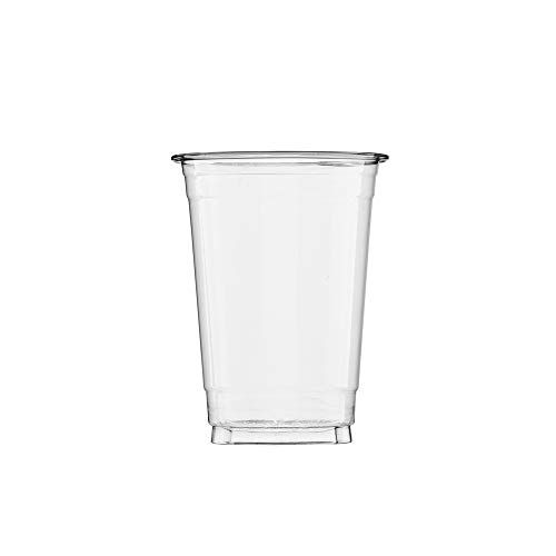 (100 Count) 10 oz Clear Plastic Cups, Disposable Crystal Clear PET Cups for Cold Drinks, To Go Iced Coffee, Juice, Soda, Bubble Boba Tea, Smoothie
