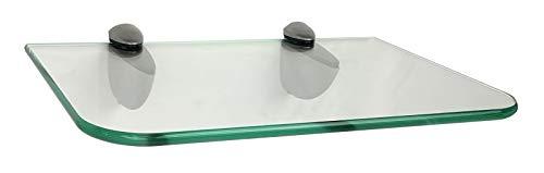 Glasregal Klarglas 30x20 cm abgerundete Ecken/Clip C325 in silbermatt / 2 Regalsets