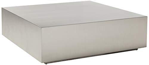 Limari Home Kolton Coffee Table, Brushed Stainless Steel