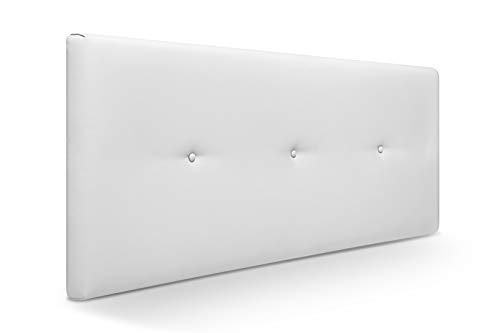 Muebles Pejecar Cabeceros de Camas 90,105 cm. Nora, Cabecero Tapizado Color Blanco. (110 cm de Ancho x 50 cm de Alto)