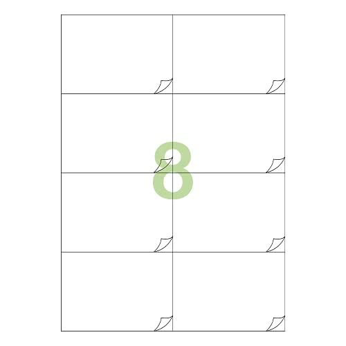 Gluetack - Etichette Adesive Bianche 105 x 74 mm (A4) - 100 fogli - 8 Etichette per Foglio - 800 Etichette - Fogli Adesivi da Stampare