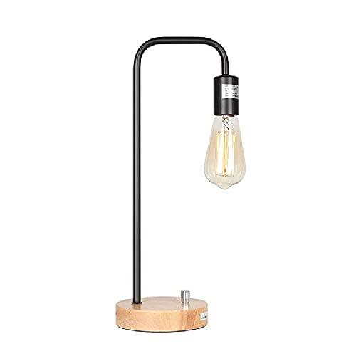 N\C Hierro codo lámpara de mesa de madera sólida base lámpara de mesa dormitorio mesita creativa lámpara de mesa noche luz