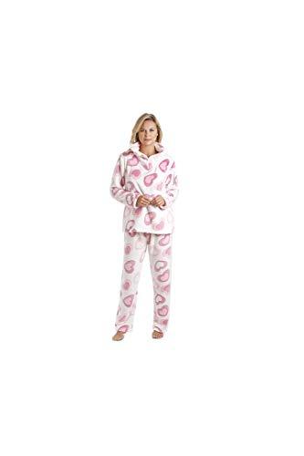 Camille Conjuntos de Pijama de Felpa Suave de Cuerpo Entero de Manga Larga para Mujer 38-40 Pink White Heart