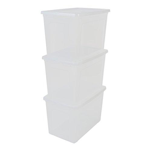 IRIS, 3er-Set Aufbewahrungsboxen / Kisten mit Deckel / Stapelboxen 'Modular Clear Box', MCB-70, Kunststoff, transparent, 70 L, 59,5 x 39,5 x 38,5 cm