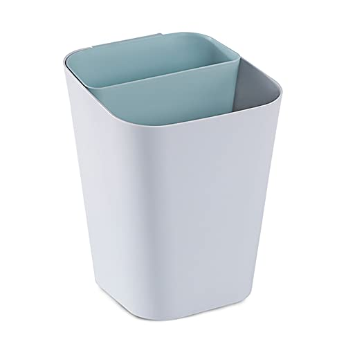 Trash Can Bote de Basura de plástico Rectangular, Cubo de Basura de separación en seco y húmedo, para Cocina, Oficina, Sala de Estar, Compartimento Doble (Cian/Gris)