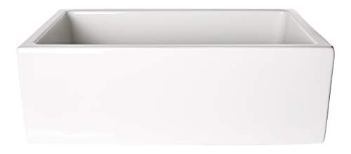 ZUHNE 30-Inch White Farmhouse Apron Front Reversible Single Bowl Fireclay Kitchen Sink with...