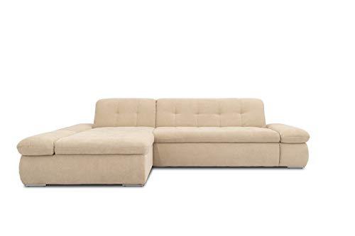 Domo Collection Ecksofa Moric / Eckcouch mit Bett / Sofa mit Schlaffunktion in L-Form Couch mit Armlehnfunktion/ 300x172x80 cm / Schlafsofa in beige