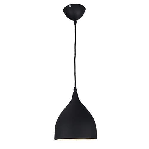 Moderna Industrial Lámpara Colgante - E27/E26 Vintage Luz Colgante Iluminación Decorativa, Retro Lámpara de Techo de Aluminio (Negro)