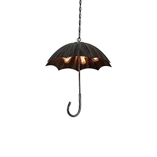 DEORBOB Creative Loft Umbrella Vintage Chandelier Luminaria Restaurante Retro Lámpara colgante de hierro forjado Hotel americano Cocina Salón de exposiciones Bar Cafetería Luminaria de suspensión (Zóc