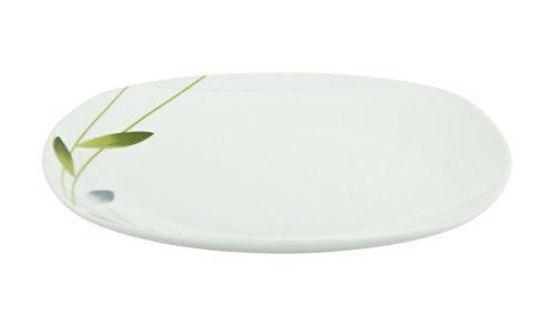 Van Well Speiseteller Serenade, Menü-Teller flach, 245 x 245 mm, großer Servierteller, Hotelporzellan, schraffiertes Pflanzendekor, Gastro-Geschirr