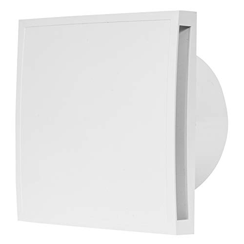 Ventilador de baño de 150 mm de diámetro con sensor de humedad y temporizador, con frontal blanco, ventilador silencioso
