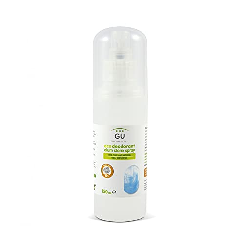 Desodorante de alumbre formato Spray 150 ml- Desodorante 100% Ecológico sin Aluminio, Parabenos, Alcohol o Conservantes - Elimina Bacterias sin Cerrar los Poros de manera Natural - GU Planet
