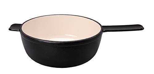 Kisag Fondue Caquelon Gusseisen Fonduetopf Käsefondue schwarz Kachel 20 cm 2,0 l