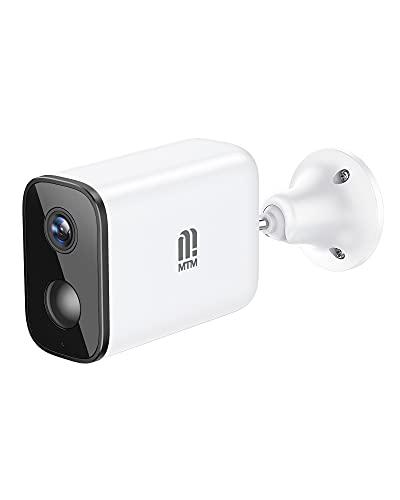 MTM Telecamera Esterno con Batteria, Videocamera Sorveglianza Esterno 2.4G WiFi Senza Fili, FHD 1080P, Telecamere Videosorveglianza con, Rilevazione PIR, Audio Bidirezionale, Visione Notturna, IP66