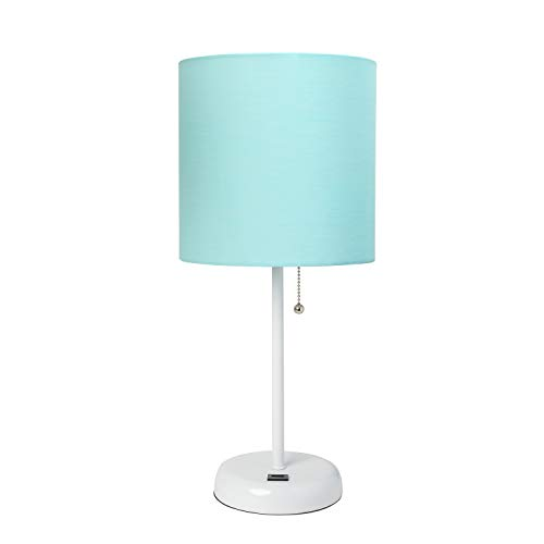 LimeLights White Stick Lamp with USB port and Fabric Shade, Aqua