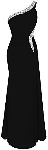 Angel-fashions De las Mujeres Un Hombro Ruching Cuentas Cinta Escotado por detras Vestido Largo (Large, Negro)