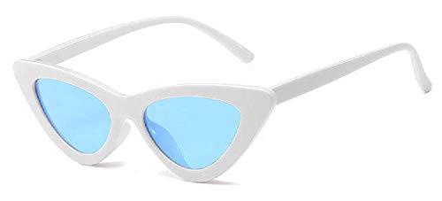 Lovelegis Gafas de sol mujer gato - mariposa - vintage - niña - retro - moda - polarizadas - uv400 - montura blanca - lentes azules