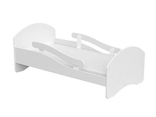 Clamaro Leo Kinderbett Jugendbett 180x80 mit verstellbarem Rausfallschutz (beidseitig) und Kantenschutzleisten, Bett Set inkl. Lattenrost und Matratze - Weiß/Weiß