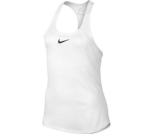 Nike Filles Mädchen Tennis-Shirt Zeitloses Sport Tank-Top mit DRI-FIT-Technologie Fitness-Shirt Trainings-Shirt Weiß, Größe:XL