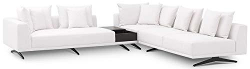 Casa Padrino Luxus Ecksofa Weiß/Bronzefarben 340 x 292 x H. 64 cm - Edles Wohnzimmer Sofa mit Kissen - Luxus Möbel - Luxus Qualität