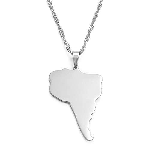 Collares América del Sur Mapa del continente Collares pendientes Plata Oro Color Regalo de la joyería América del Sur América del Sur Mapa-Plata Color_45cm Cadena delgada