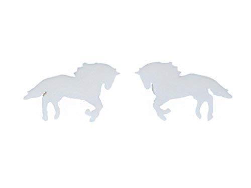 Miniblings Pferd Ohrstecker Ohrringe Tier Reiter Schimmel Reitsport Ponyhof Pony - Handmade Modeschmuck I Ohrringe Stecker Ohrschmuck