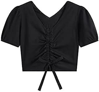 Fyuanmeiinsdxnv Womens tops summer V-Neck Short-Sleeved Black Myopic Women's Street Wear Bandage Blouse Summer Casual Slen...