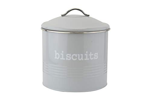 Ehc Round Biscuits Storage Canister Jar, Grey